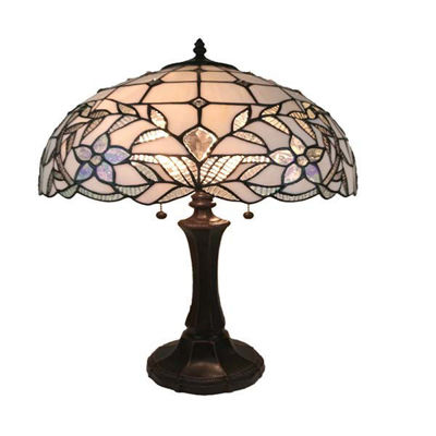 Tiffany Style White Table Lamp 11 In Tall