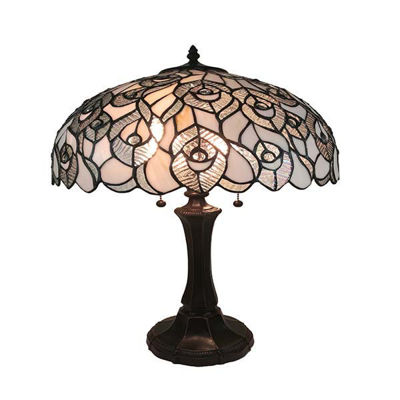 Tiffany Style Table Lamp, White