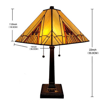 Tiffany Style Mission Table Lamp 10 in Tall, 22 in wide