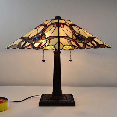 Tiffany Style Geometric Mission Table Lamp