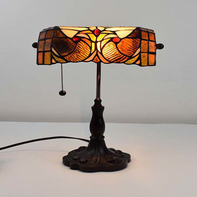 Tiffany Style Banker Table Lamp, 10 in Tall, 16 In wide
