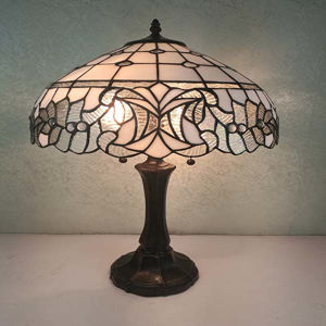 Tiffany Style White Table Lamp 18 Inches Tall