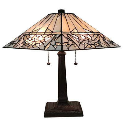 Tiffany Style White Mission Table Lamp 22 Inches Tall