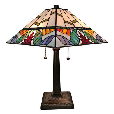 Tiffany Style Multi Color Mission Table Lamp 22 Inches Tall