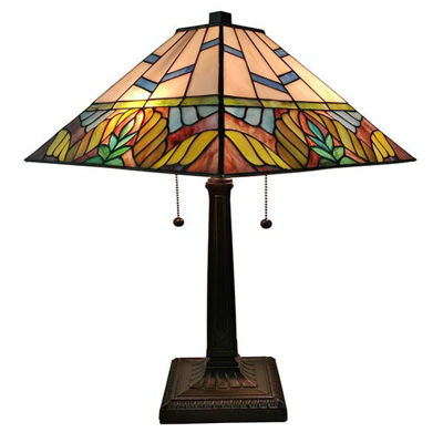 Tiffany Style 22 Inches Tall Multi Color Mission Table Lamp