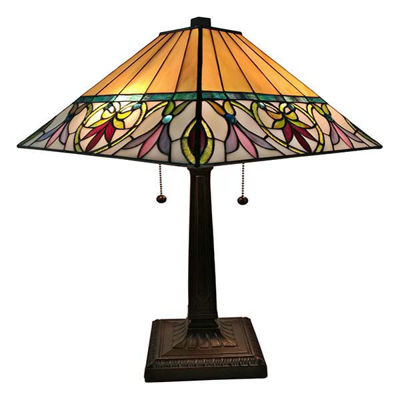 Tiffany Style Floral Mission Table Lamp 22 Inches Tall