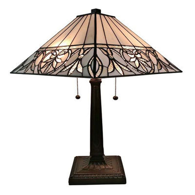 Tiffany Style White Floral Mission Table Lamp 22 Inches Tall