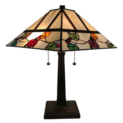 Tiffany Style Berries/Leaves Mission Table Lamp 22 Inches Tall