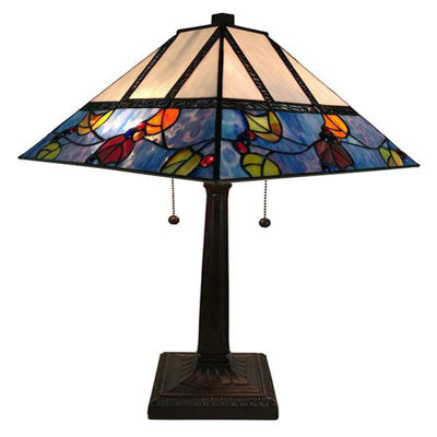 Tiffany Style 22 Inches Tall Berries/Leaves Mission Table Lamp
