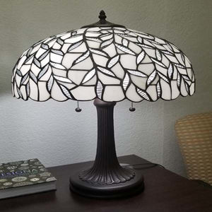 Tiffany Style Peacock Design Table Lamp 24 Inches White