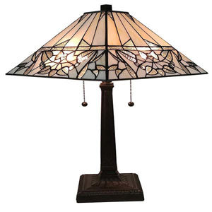 """Tiffany Style Table Lamp Banker Mission 22"""" Frost Ivory Light"""