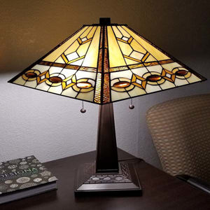 """Tiffany Style Table Lamp Banker Mission 22"""" Ivory Brown Antique Vintage Light"""