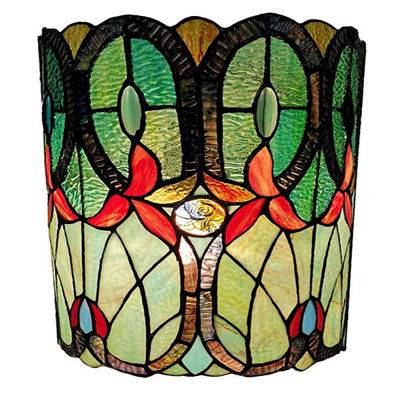 Tiffany Style Double-light Floral Wall Sconce 13.5 In High