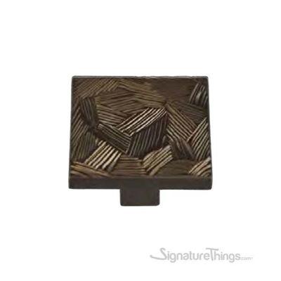 Textured Bronze Square Knob