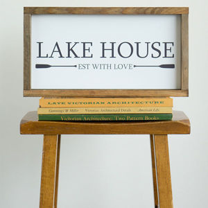 Lake House Est with Love | 8x16 Wood Framed Sign