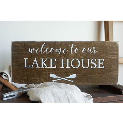 WELCOME TO OUR LAKE | 7X18 WOOD SIGN
