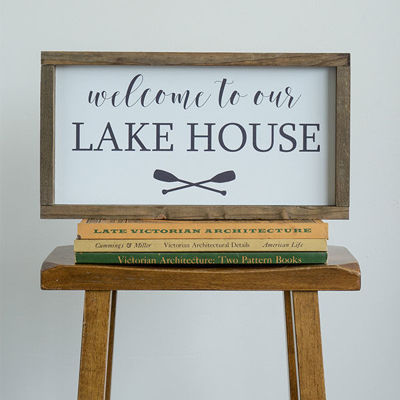 WELCOME TO THE LAKE HOUSE | 8X16 WOOD FRAMED SIGN