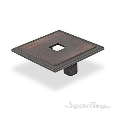 Small Square Cabinet Pull With Hole- BRONZE
