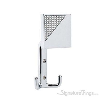 Robe And Towel Hook With Corner Crystals in Bright Chrome