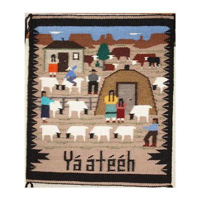 SignatureThings.com Brass Hardware Navajo Pictorial Rug ELLA