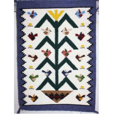 SignatureThings.com Brass Hardware Tree of Life Navajo Bird Rug JB