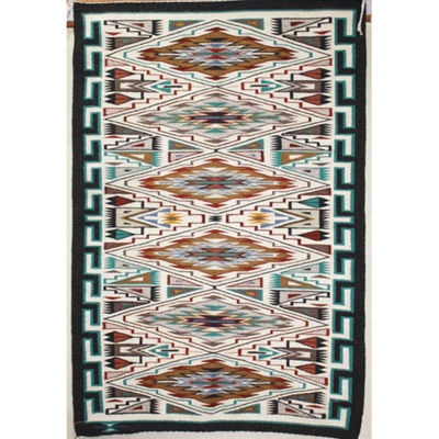 SignatureThings.com Brass Hardware Teec Nos Pos Navajo rug AB