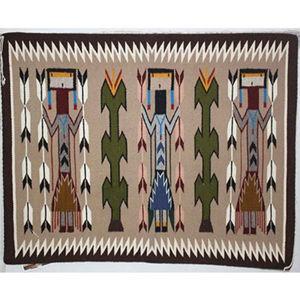 SignatureThings.com Brass Hardware Yei Navajo Rug PW
