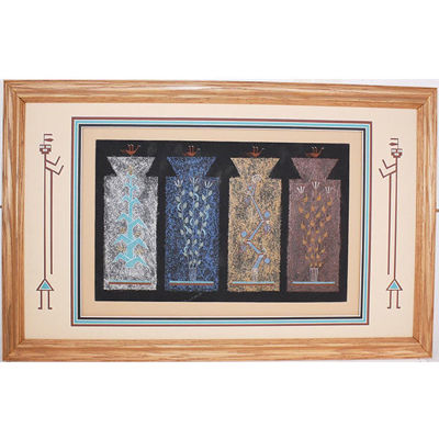 "Navajo sand painting Joe Ben ""4 sacred plants"""