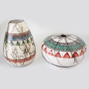 HORSE HAIR COLORED BAND POTTERY 120 - Navajo Indian Handmade Pottery