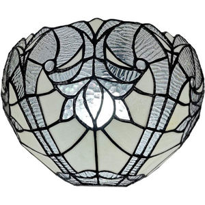Tiffany Style White Floral Wall Sconce Lamp 12 In Wide