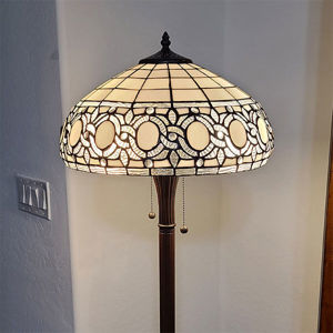 SignatureThings.com Brass Hardware Tiffany Style Floral White Floor Lamp 62 In High