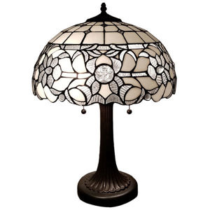 SignatureThings.com Brass Hardware Tiffany Style White Table Lamp 24 Inches Tall