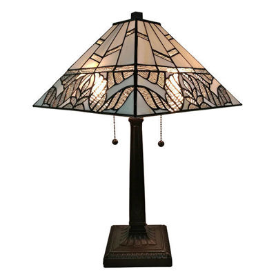 SignatureThings.com Brass Hardware Tiffany Style Multi Color Mission Table Lamp 22 Inches Tall