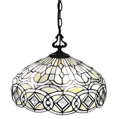 SignatureThings.com Brass Hardware Tiffany Style White Hanging Lamp 16 Inches Wide