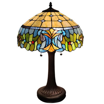 SignatureThings.com Brass Hardware Tiffany Style Multi-Color Table Lamp 23 Inches Tall