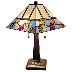 SignatureThings.com Brass Hardware Tiffany Style Berries/Leaves Mission Table Lamp 22 Inches Tall