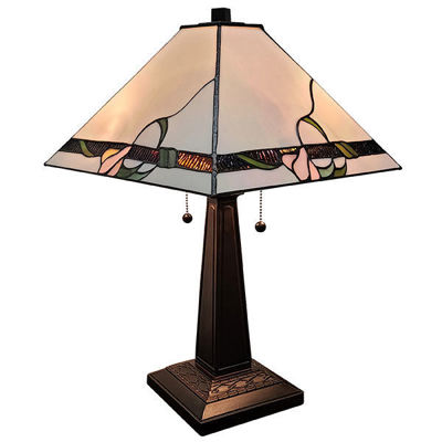 SignatureThings.com Brass Hardware Iridescent Tiffany Style Mission Table Lamp 23 Inches