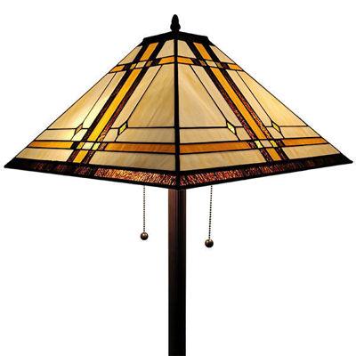 SignatureThings.com Brass Hardware Tiffany Style Floor Lamp Mission 61 Inch Tall Handmade Gift