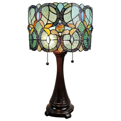 SignatureThings.com Brass Hardware Tiffany Style Floral Table Lamp
