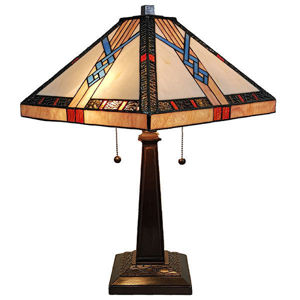SignatureThings.com Brass Hardware Tiffany-style Mission Table Lamp 23 Inches Tall