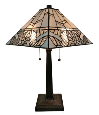 SignatureThings.com Brass Hardware Tiffany Style White Mission Table Lamp 22 Inches Tall