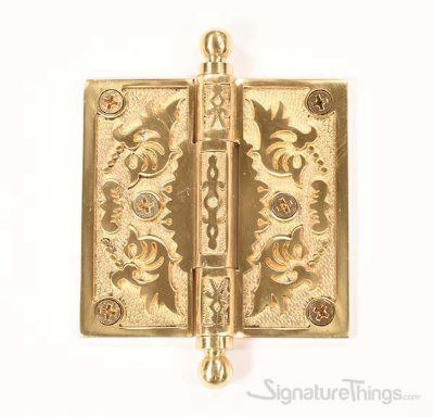 "3-1/2"" - Filigree Butt Bearing Hinges - Ball Tip Design - Polished Brass"