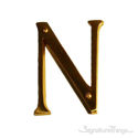 """Traditional Solid Brass 4"""" Raised of Letter N"""