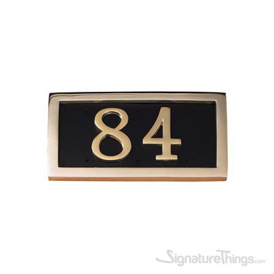 Two Numeral Address Marker Plaque - Solid Brass - Black