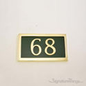 Two Numeral Address Marker Plaque - Solid Brass - Classic Green