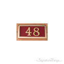 Two Numeral Address Marker Plaque - Solid Brass - Redwood