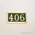 Three Numeral Address Marker Plaque - Solid Brass - Classic Green