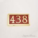 Three Numeral Address Marker Plaque - Solid Brass - Redwood