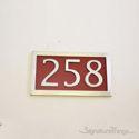 Three Numeral Address Marker Plaque - Aluminum - Redwood