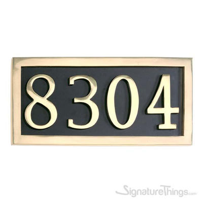 Four Numeral Address Marker Plaque - Solid Brass - Black